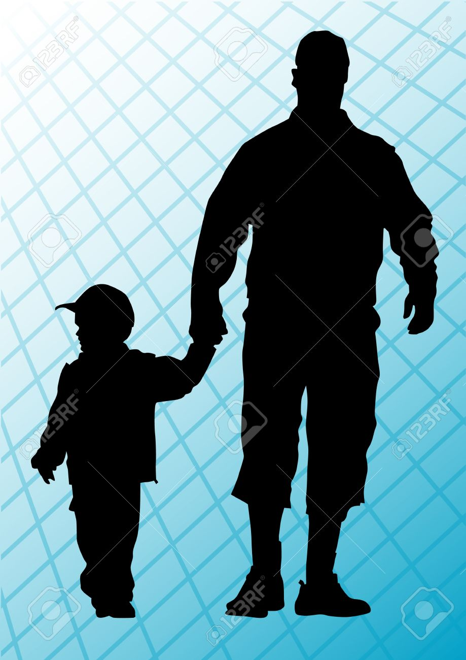 drawing father and son. Silhouettes of people Stock Vector - 6566101