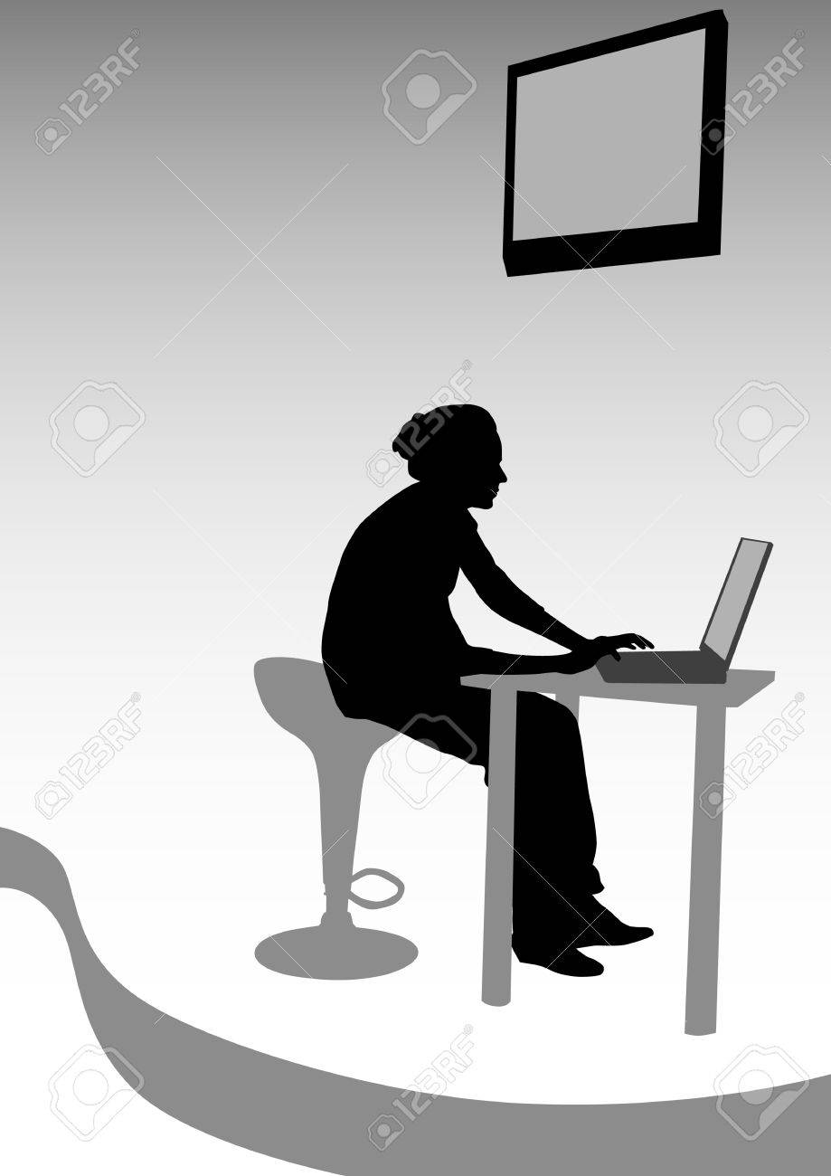 drawing women from office. Images workplace Stock Vector - 6741331