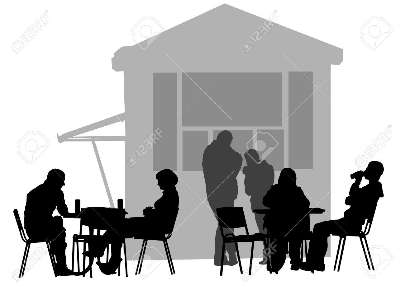 Foto Sagome Persone.Disegno Persone Nei Caffe Sagome Di Persone Nella Vita Urbana
