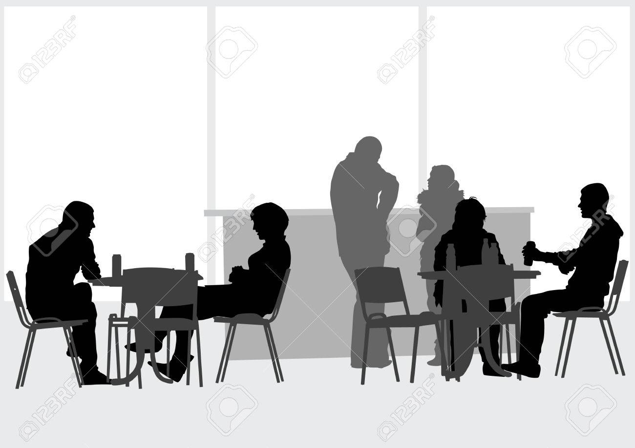 drawing people in cafes Stock Vector - 6905683