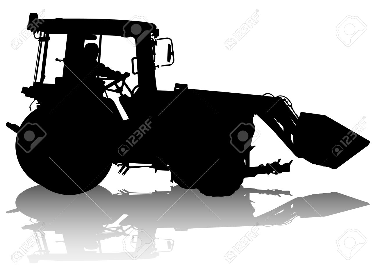 drawing of a tractor for construction work. Silhouette on white background Stock Vector - 6905687