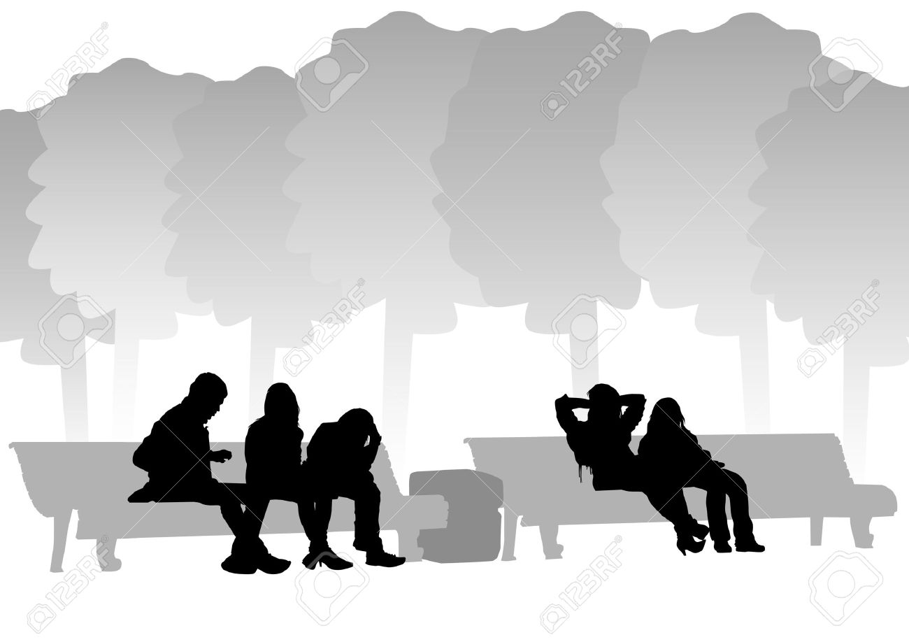 Drawing Of People On Park Benches Royalty Free Cliparts, Vectors ... for People On Bench Silhouette  166kxo