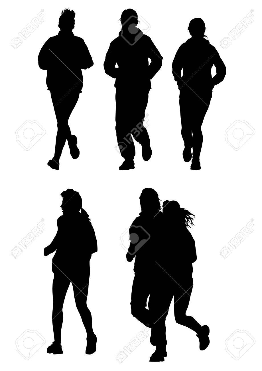 drawing running athletes. Silhouettes on white background Stock Vector - 6995271