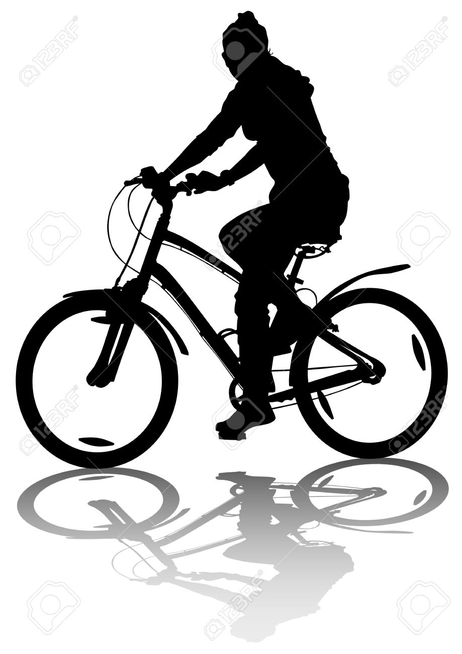 Drawing Bicycle Girl Races Leisure Royalty Free Cliparts Vectors