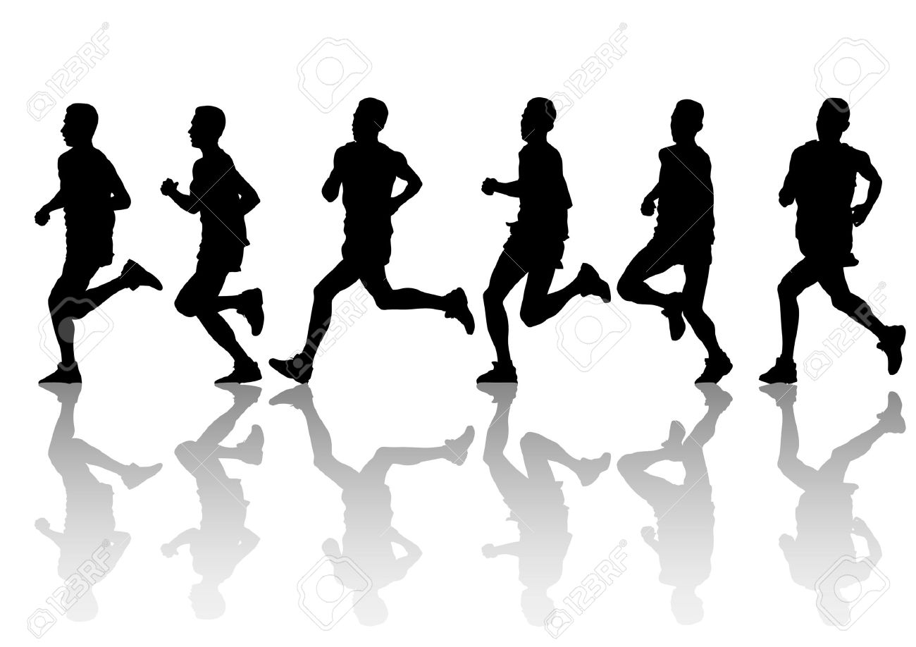 vector drawing running athlete an silhouette of sports people - Sports Drawing Pictures