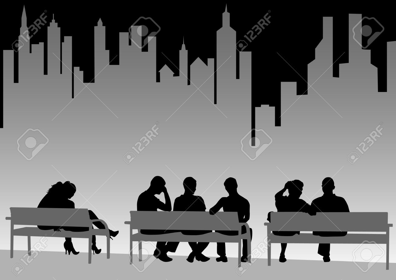 Drawing Of People On City Benches Royalty Free Cliparts, Vectors ... for People On Bench Silhouette  70ref