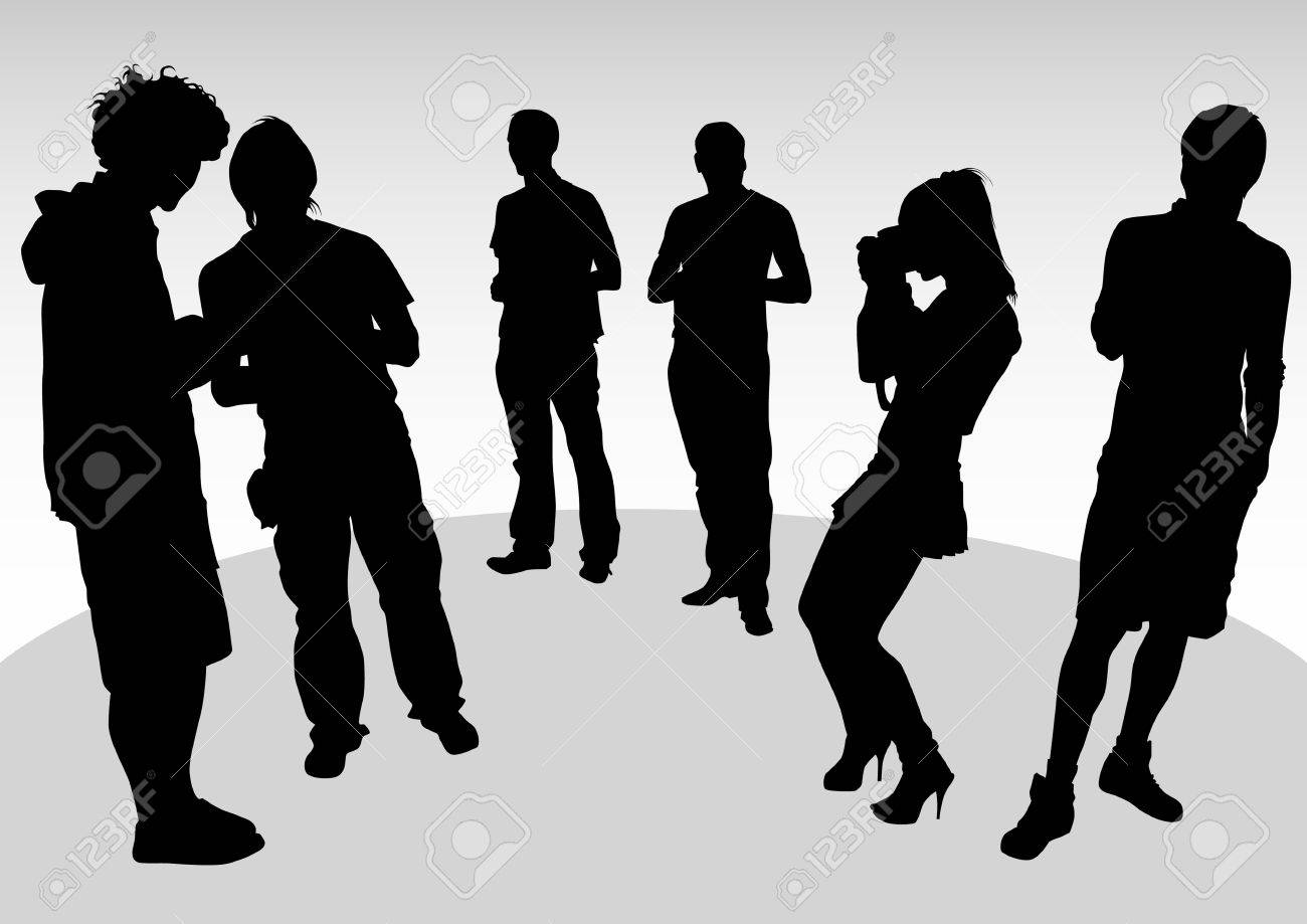 drawing crowds of photo. Silhouette of people Stock Vector - 7095437