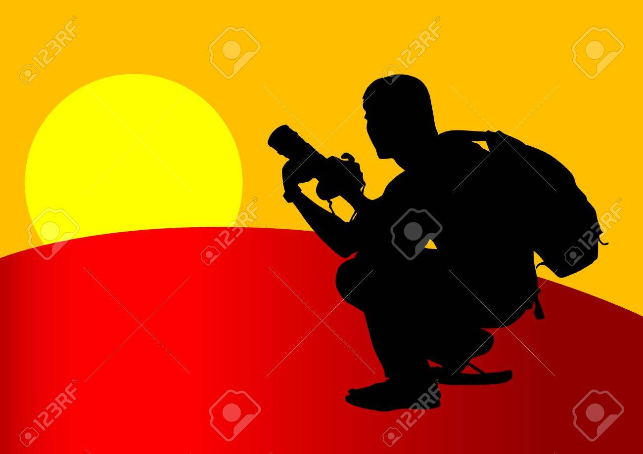 image of young man photographers with equipment at work Stock Vector - 7095421