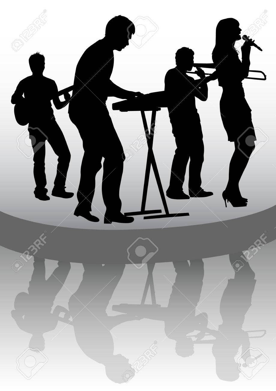 drawing musical group in concert on stage Stock Vector - 7158411