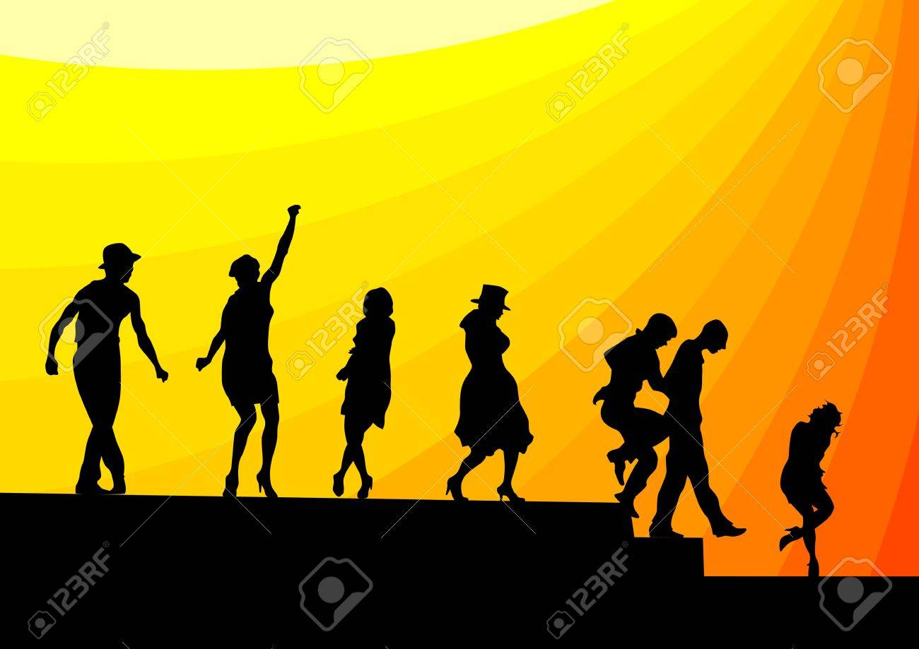 Vector drawing silhouettes of dancing artists on stage Stock Vector - 7460538