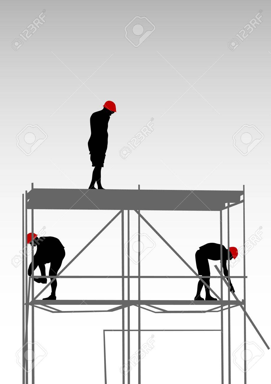 Vector drawing of building structures and worker on dais Stock Vector - 7303137