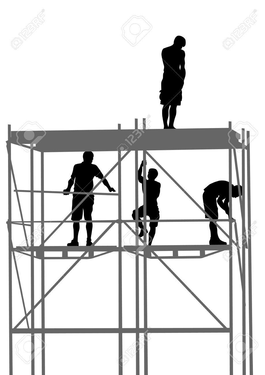 Drawing Of Building Structures And Worker On Construction Stock Vector