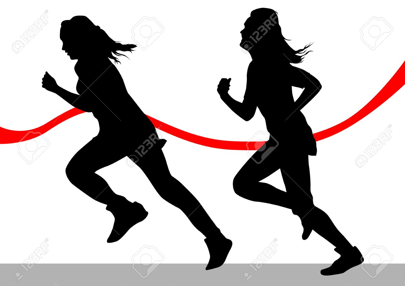 Vector drawing running athletes. Silhouettes on white background Stock Vector - 7842184