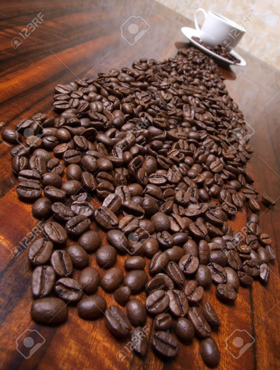 Color photo of coffee beans and a white cup Stock Photo - 8661109
