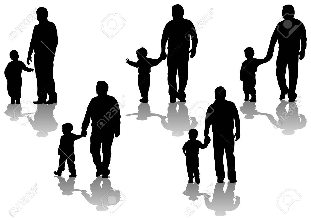 image of father and son. Silhouettes on white background Stock Vector - 8661143