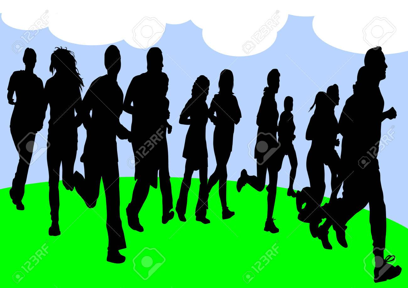 Vector drawing running athletes. Silhouettes of people background Stock Vector - 8755467