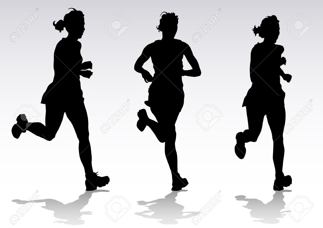 Vector Drawing Running Athletes Silhouettes Of People Background