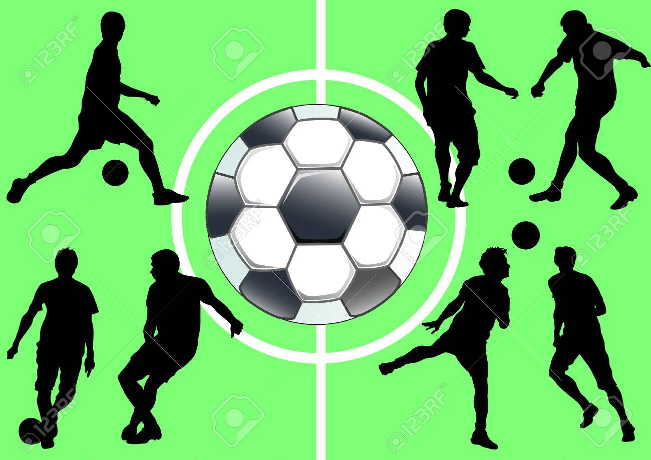 drawing sports football team silhouette people stock vector 8980475