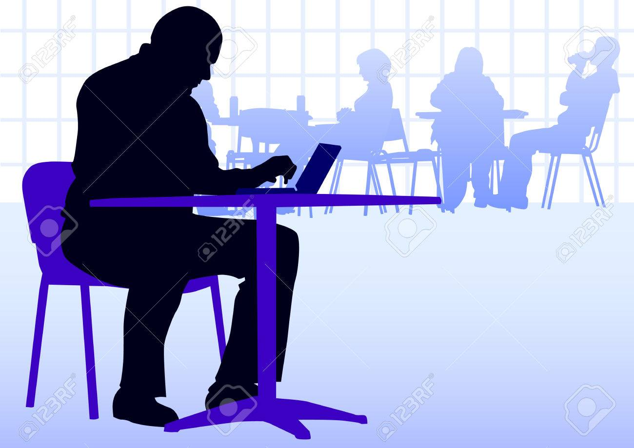 businessman with a laptop at a table in a cafe Stock Vector - 9074299