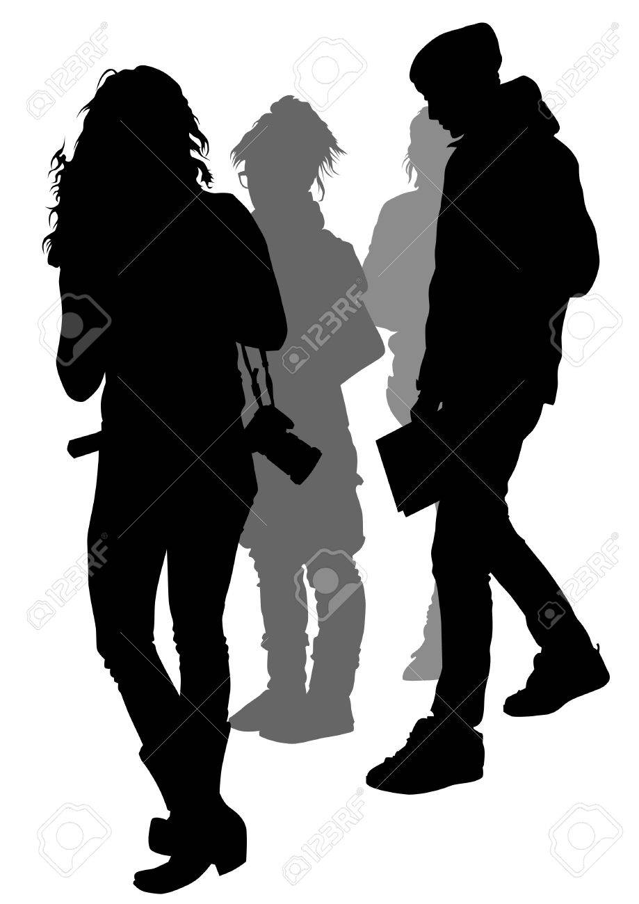 young photographers with equipment at work Stock Vector - 9127750