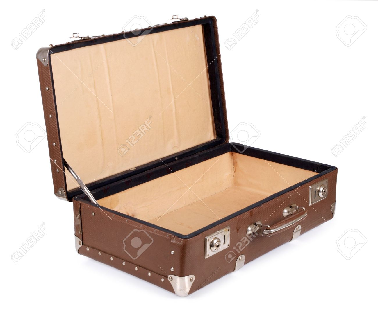 Color photo of an old suitcase on white background Stock Photo - 9426424