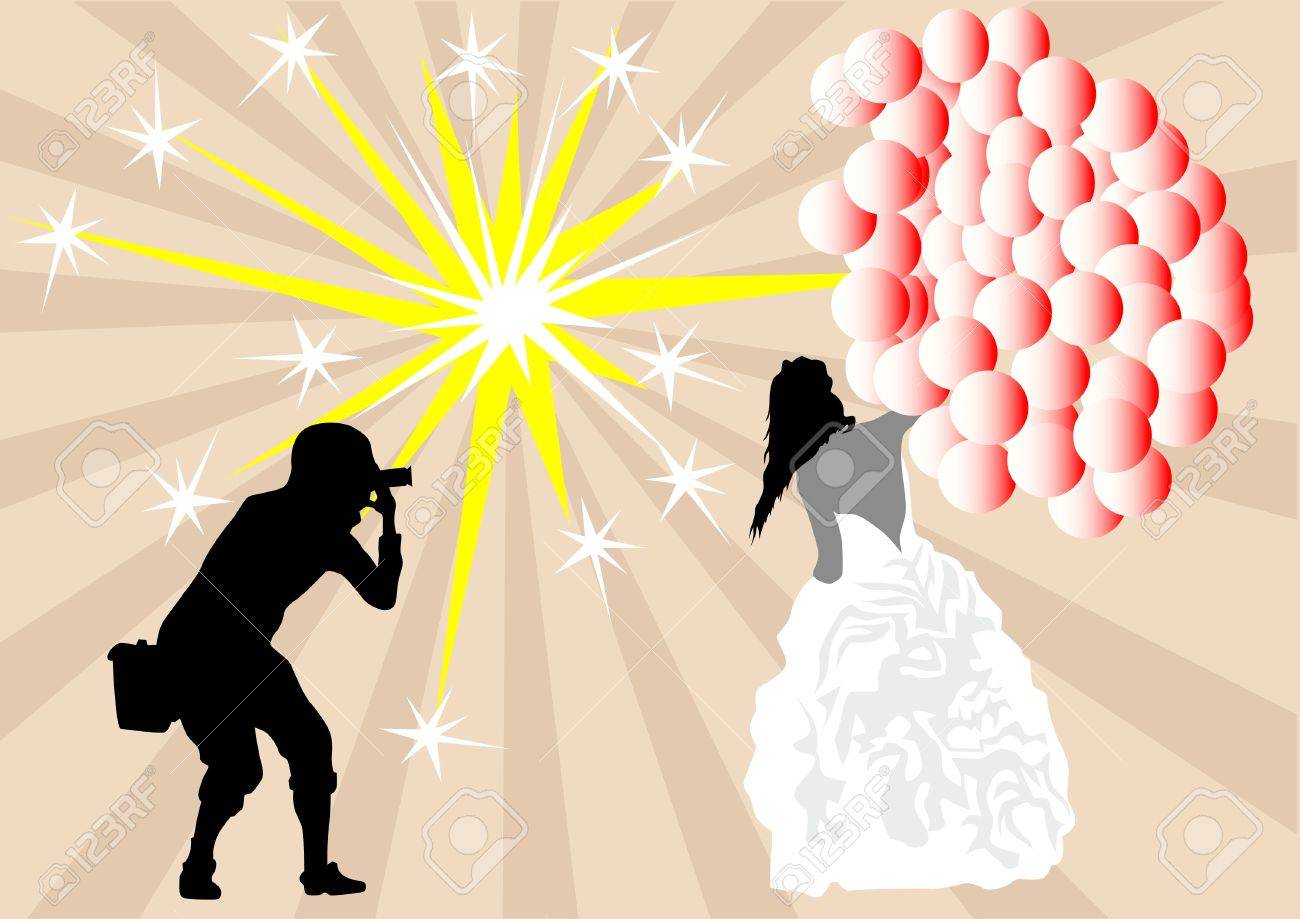 Vector drawing bride with balloons and a photographer Stock Vector - 9616705