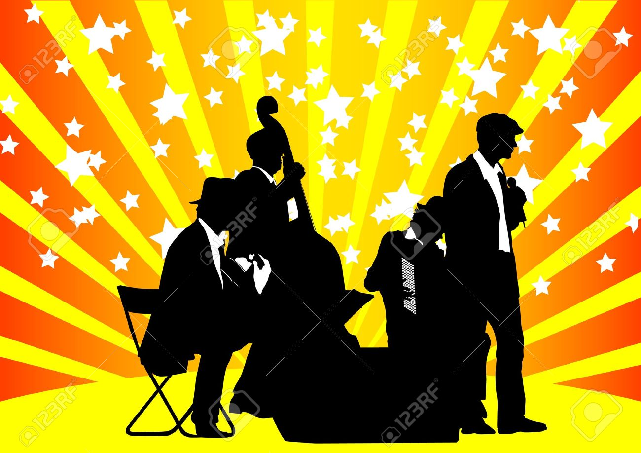 drawing orchestra music on color background Stock Vector - 9737103