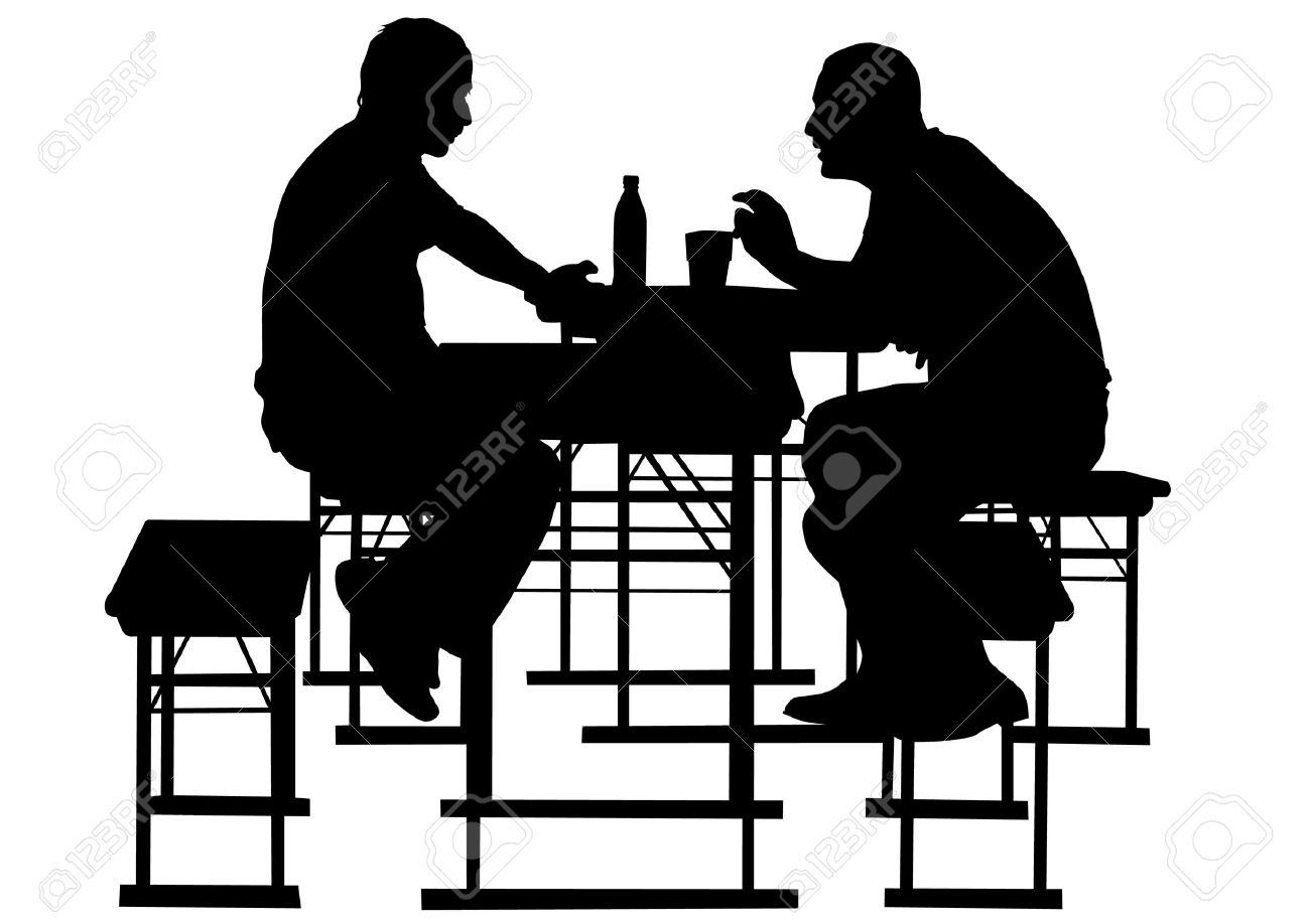 Vector drawing people to table in cafe Stock Vector - 10291708
