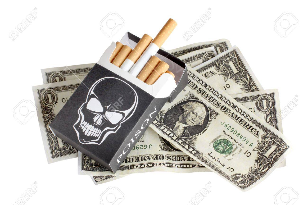 Color photo of a pack of cigarettes and money Stock Photo - 10934236