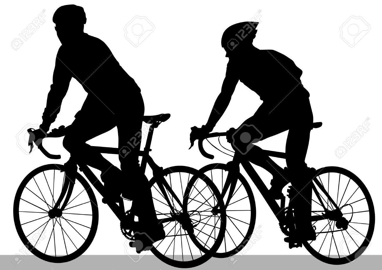 Vector drawing silhouette of a cyclist boy Stock Vector - 12051666