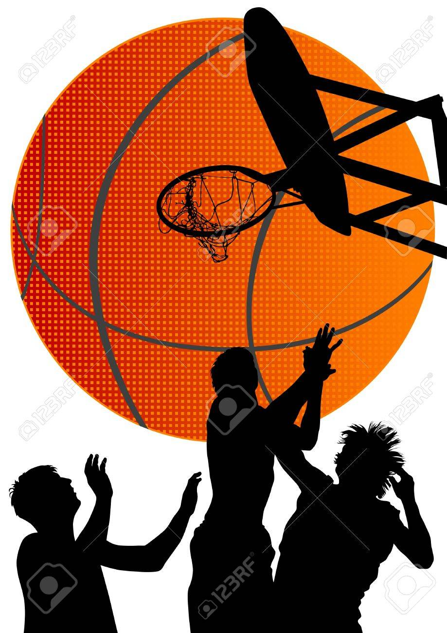 Vector graphic basketball. Silhouette man with ball Stock Vector - 12492267
