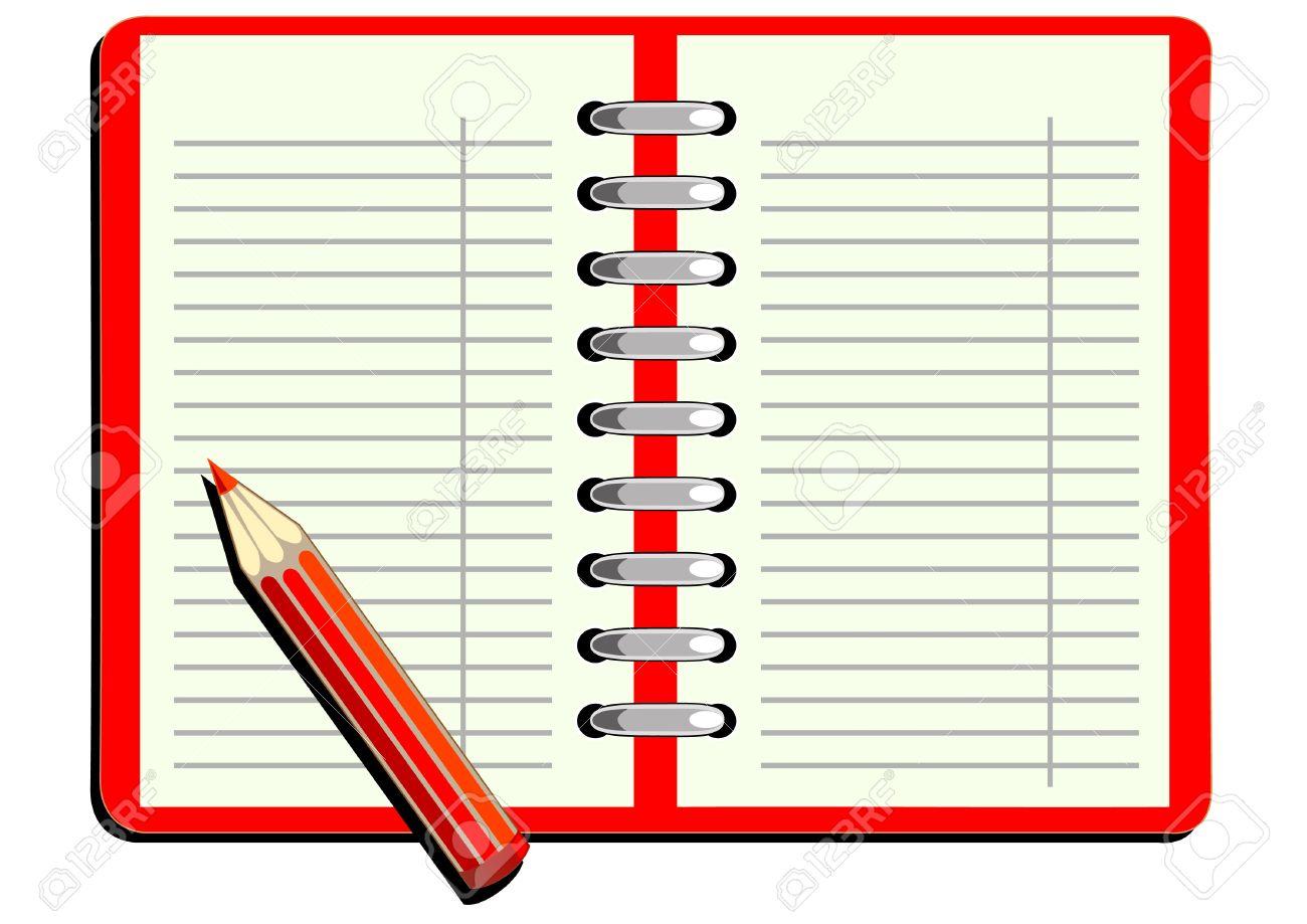 678b1a6d5 Vector cuaderno de dibujo con lápiz rojo