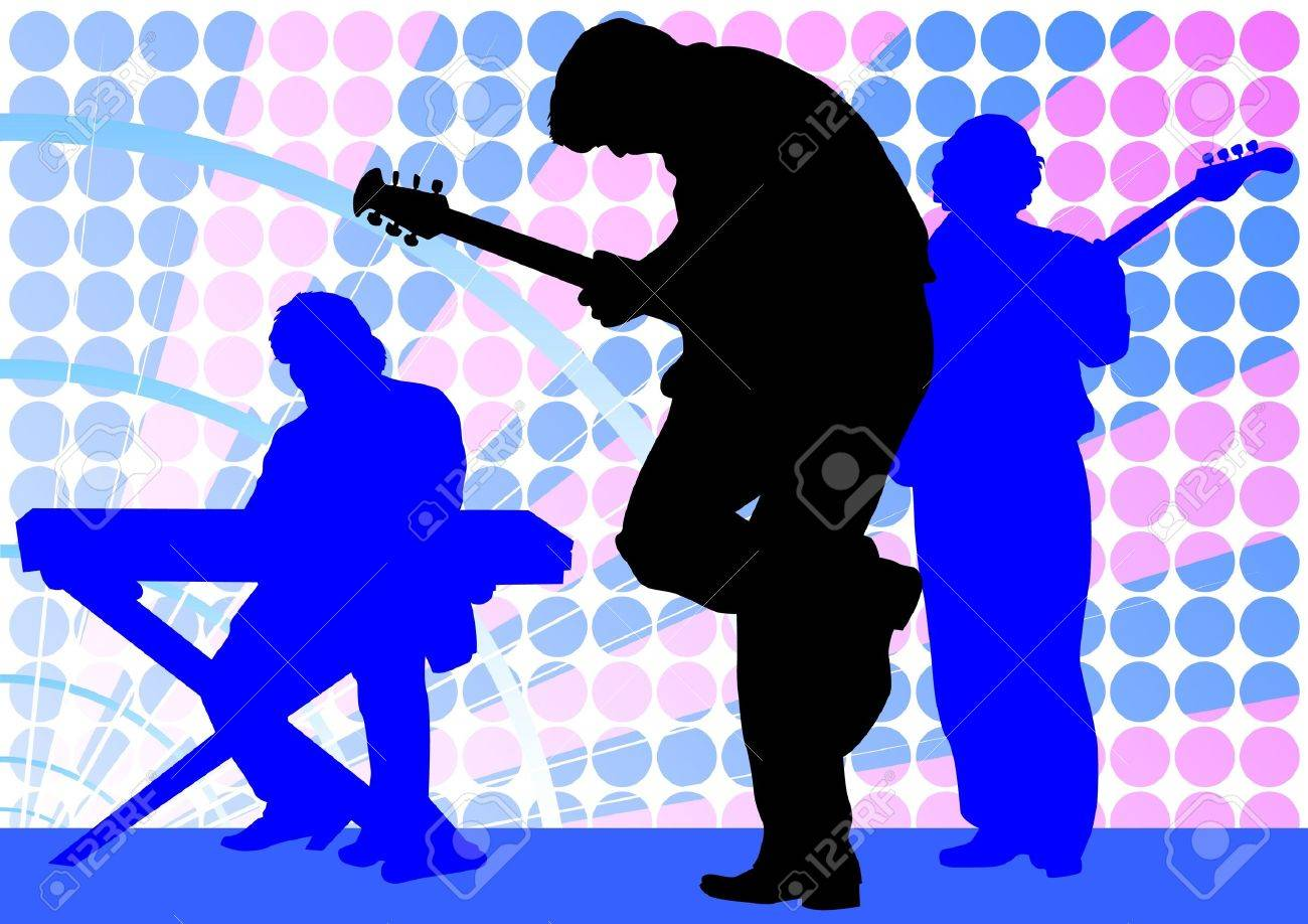 Vector drawing mans with guitar and keyboards Stock Vector - 12511436
