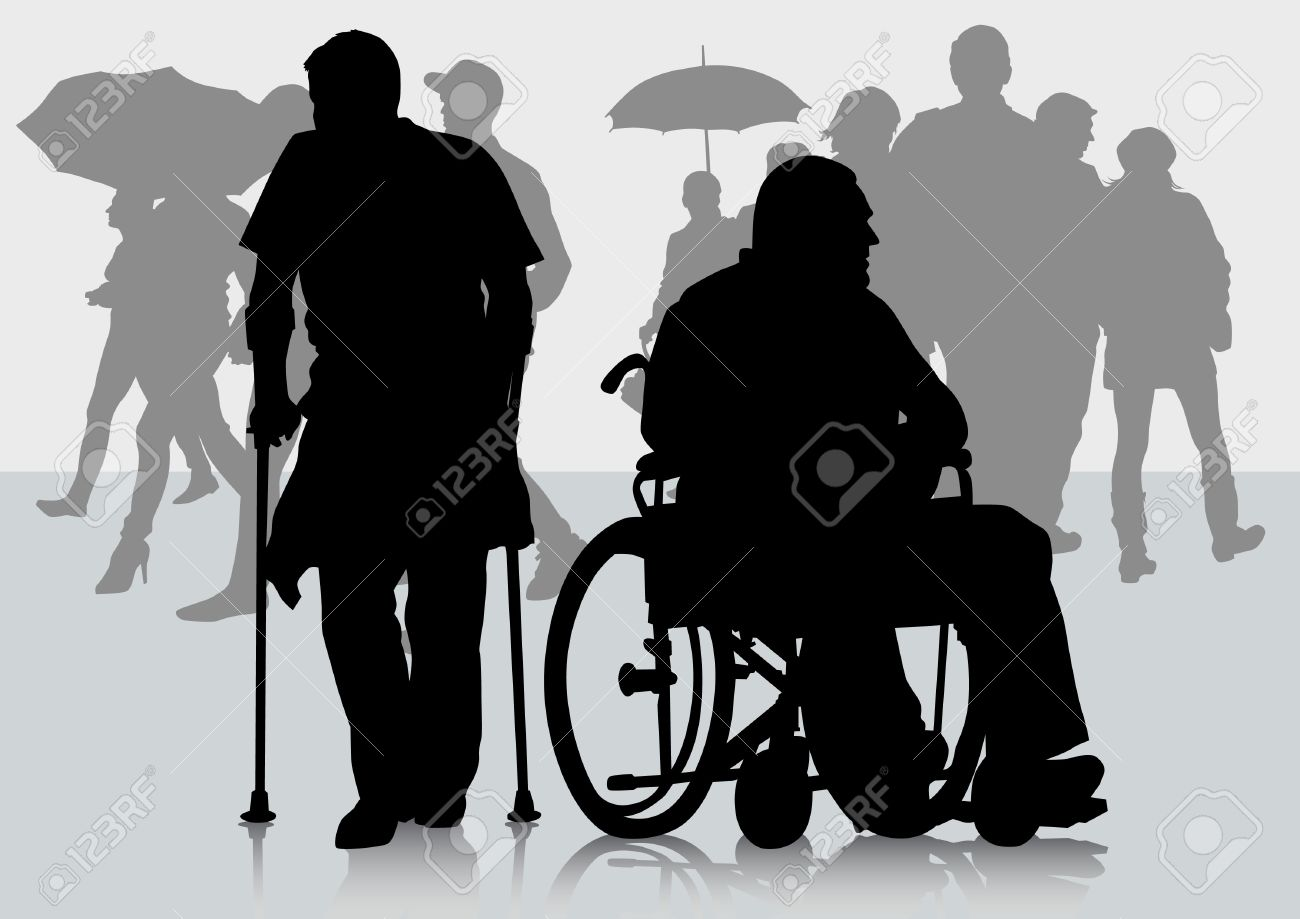 Vector Graphic Disabled In A Wheel Chair. Silhouettes Of People ...