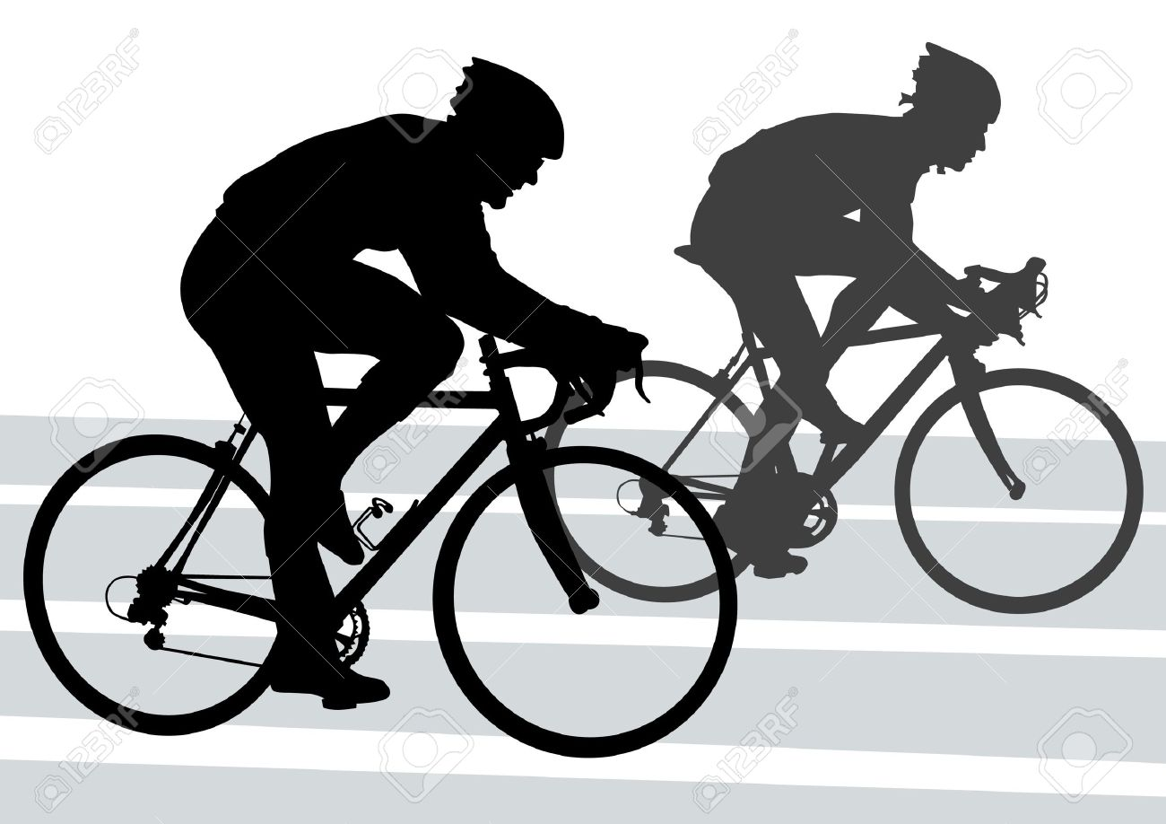 Vector drawing silhouette of a cyclist boy. Silhouette of people Stock Vector - 12864307