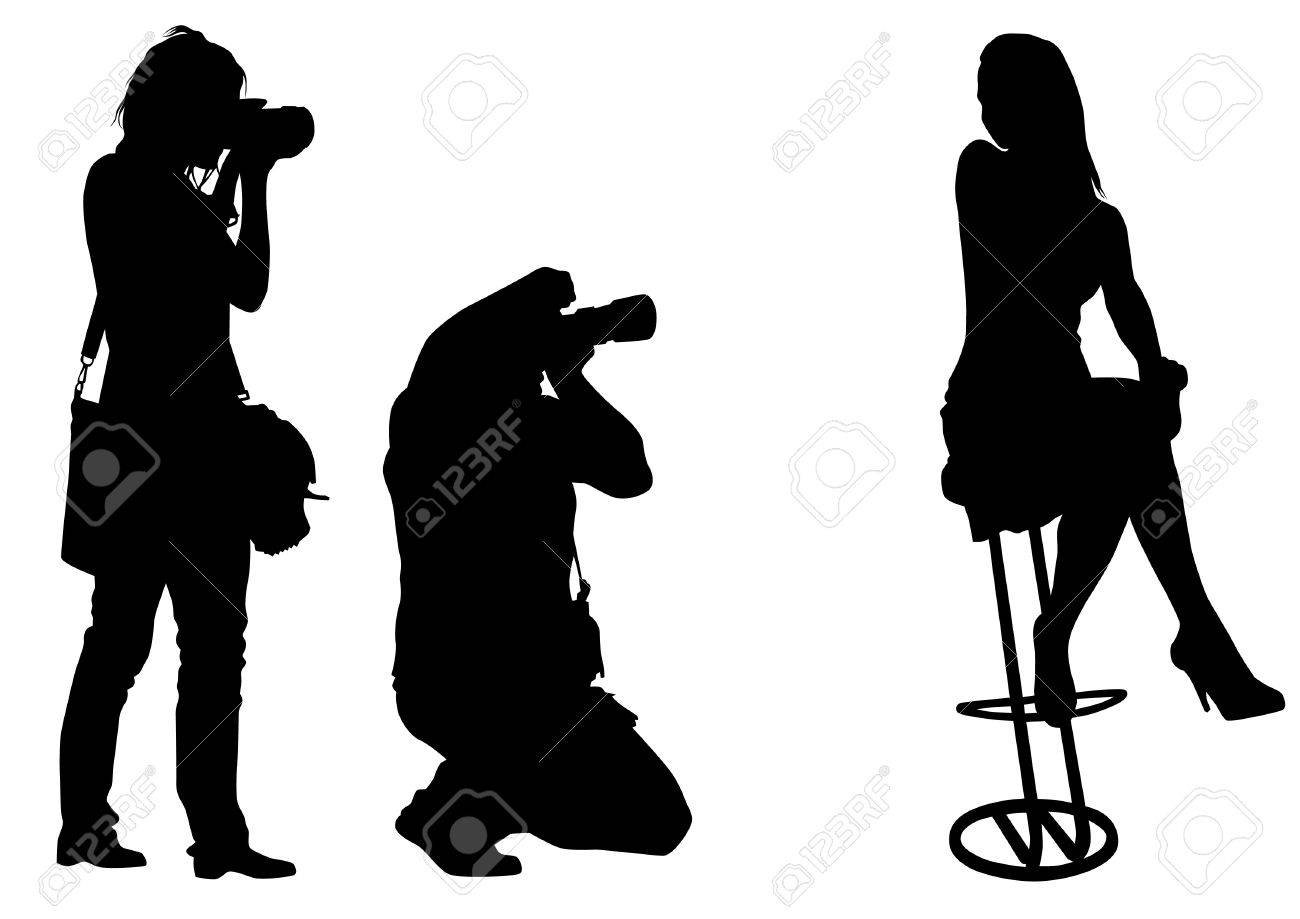 Vector image of young photographers with equipment at work Stock Vector - 12864226