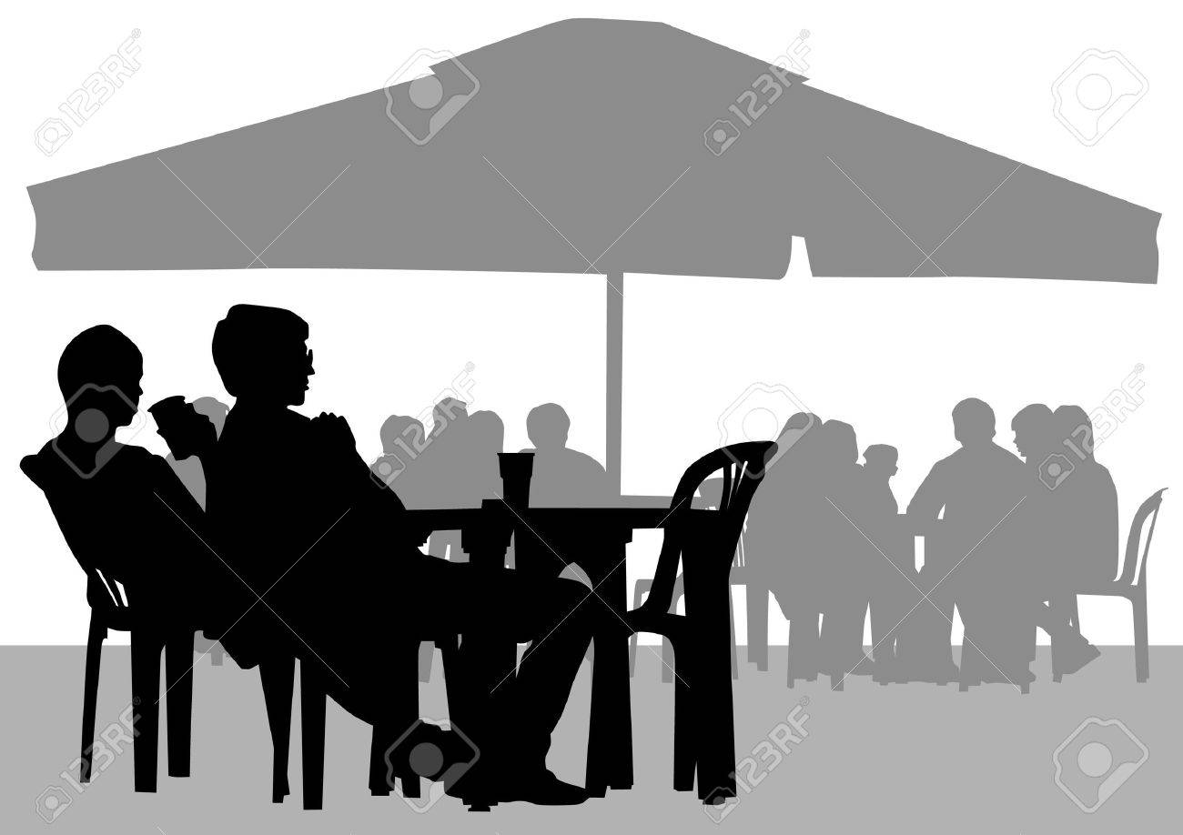 People in cafes. Silhouettes of people in urban life Stock Vector - 13030210