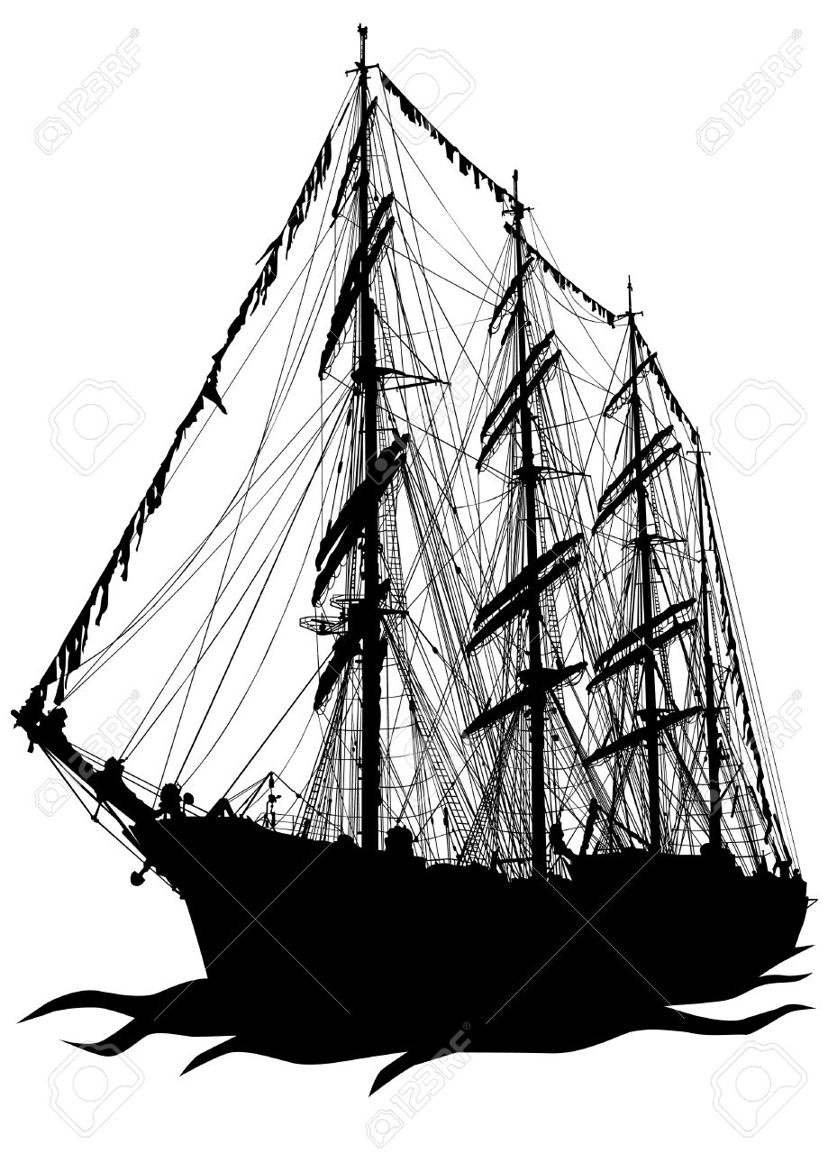Vector drawing of a sailing ship on the water Stock Vector - 13077292
