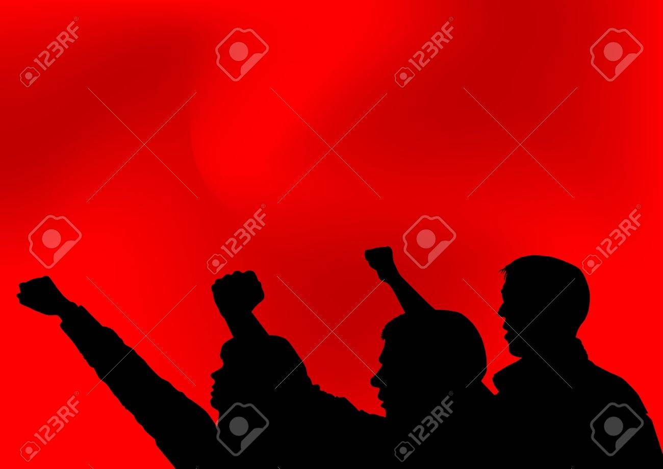 Image of people with clenched fists Stock Vector - 13563442