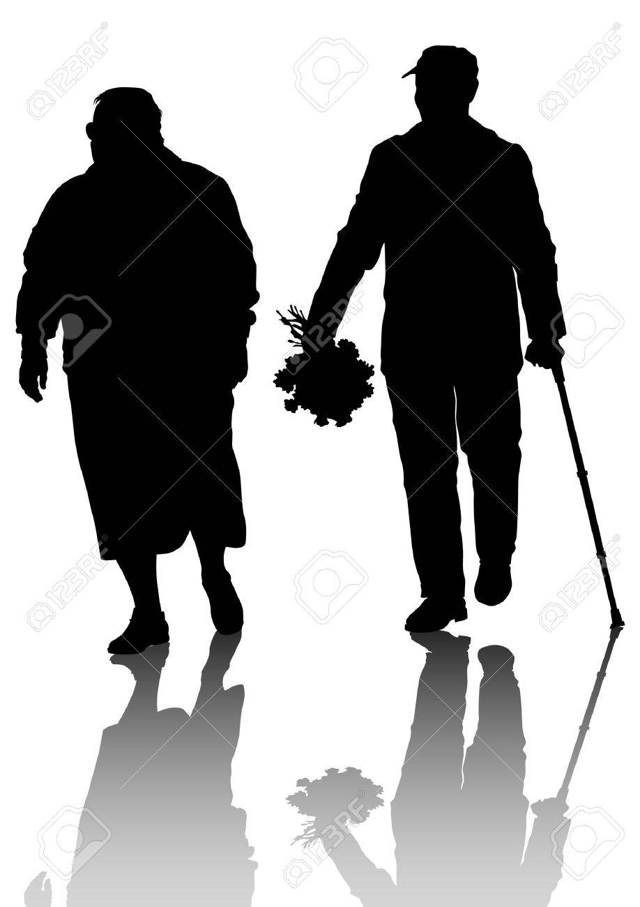 Drawing of an elderly couple walking Stock Vector - 13563456