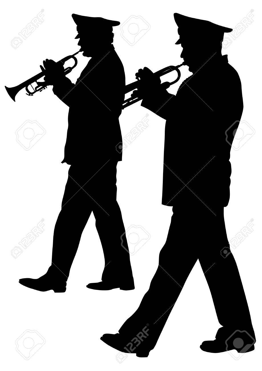 Vector image of a brass military orchestra Stock Vector - 13677347