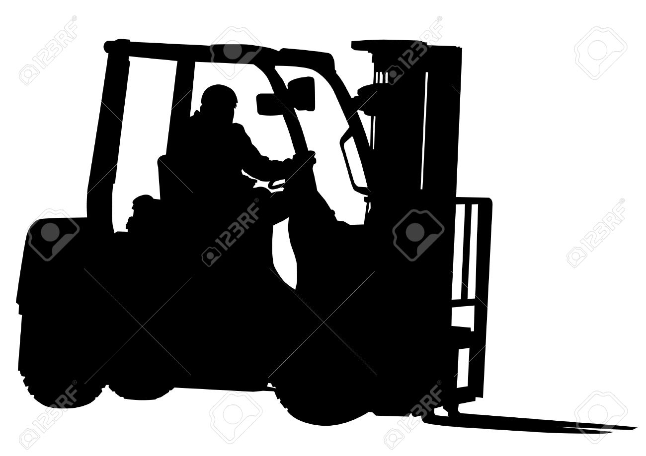 Vector drawing of forklift and working Stock Vector - 14913295