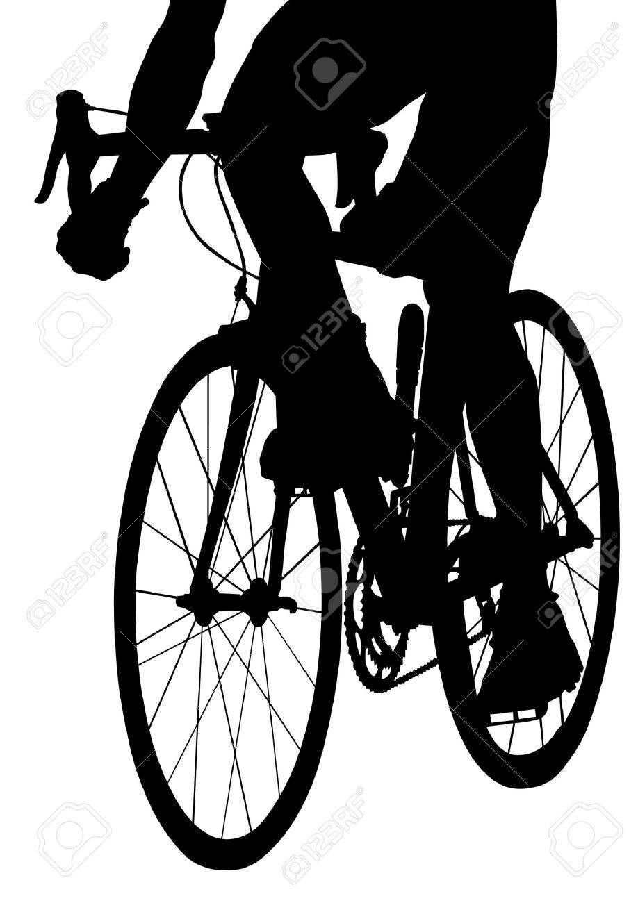 drawing silhouette of a cyclist boy Stock Vector - 15809781