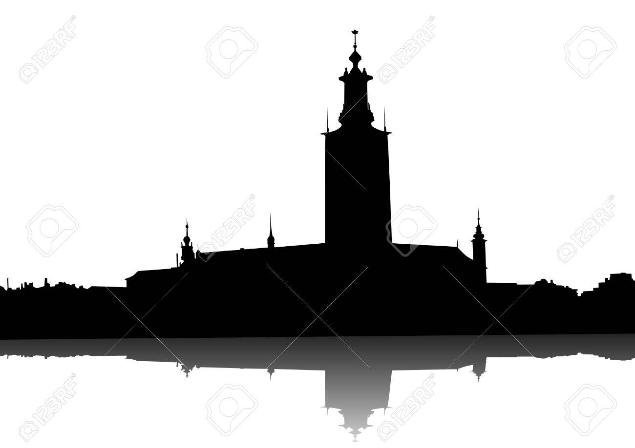 Vector drawing of old town hall on banks of river Stock Vector - 16612322