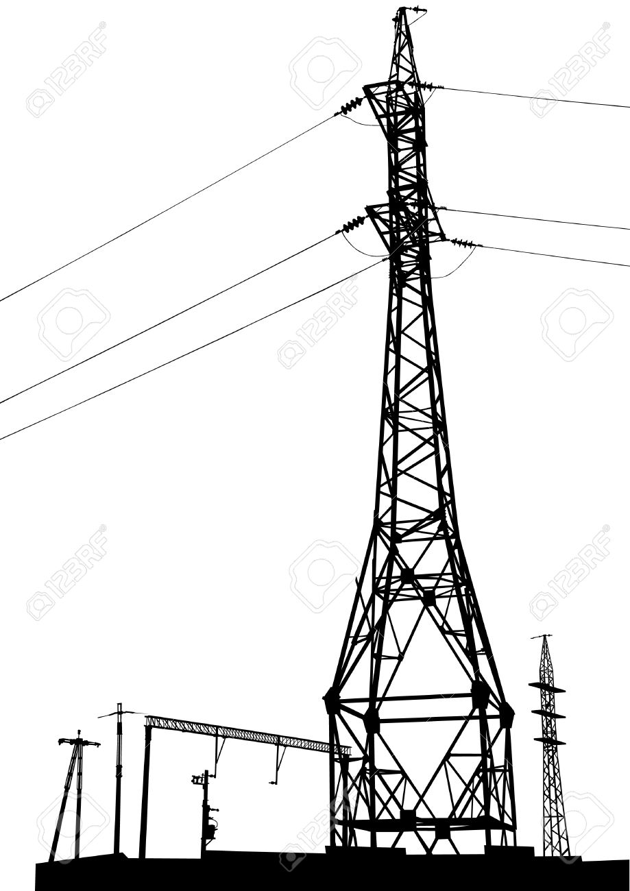 drawing of a metal high voltage transmission tower stock vector 16899554