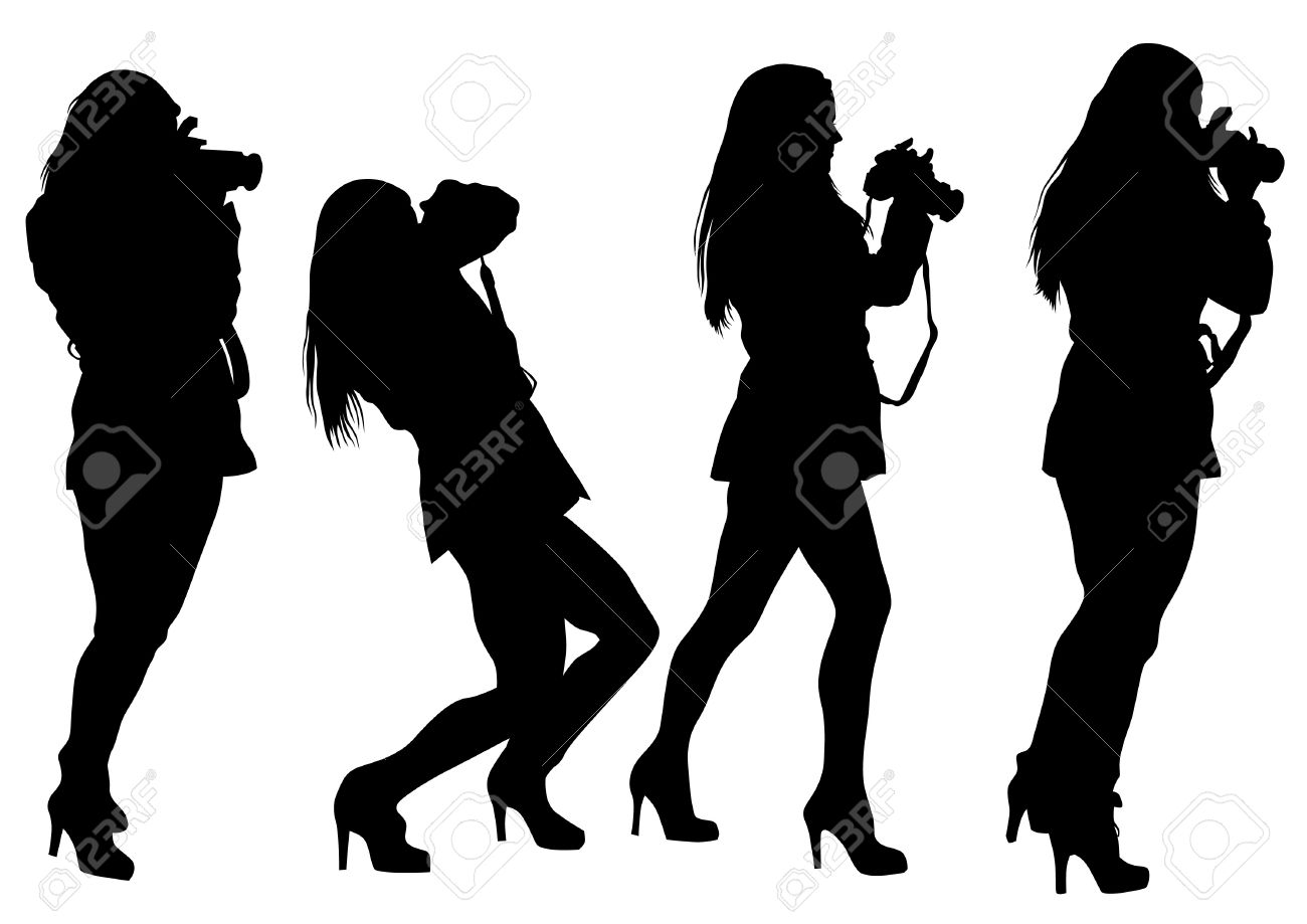 Vector drawing girls with a camera Stock Vector - 19500709
