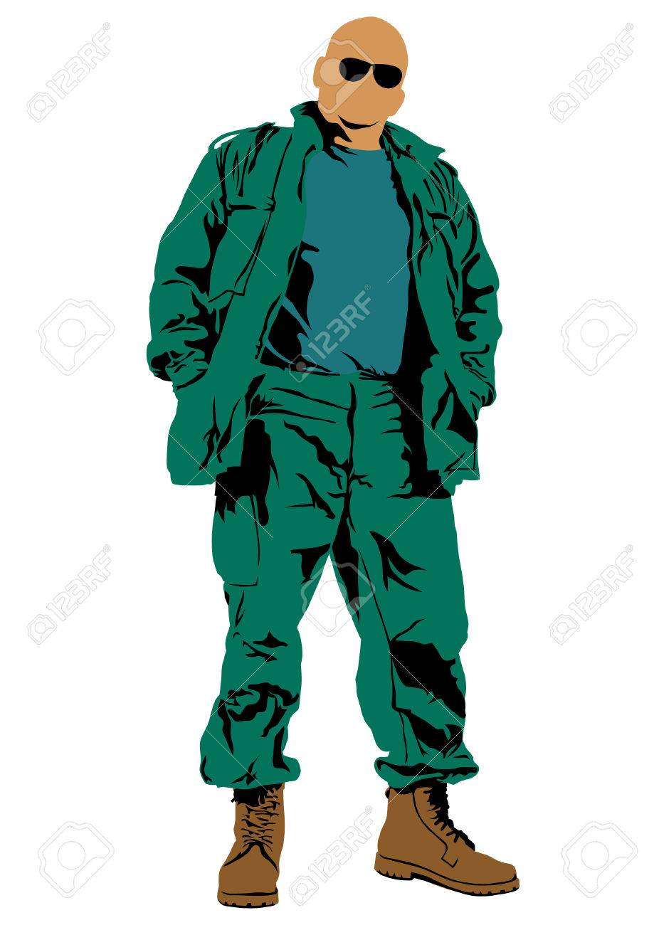 Vector drawing of a soldier in uniform with weapon Stock Vector - 23039529
