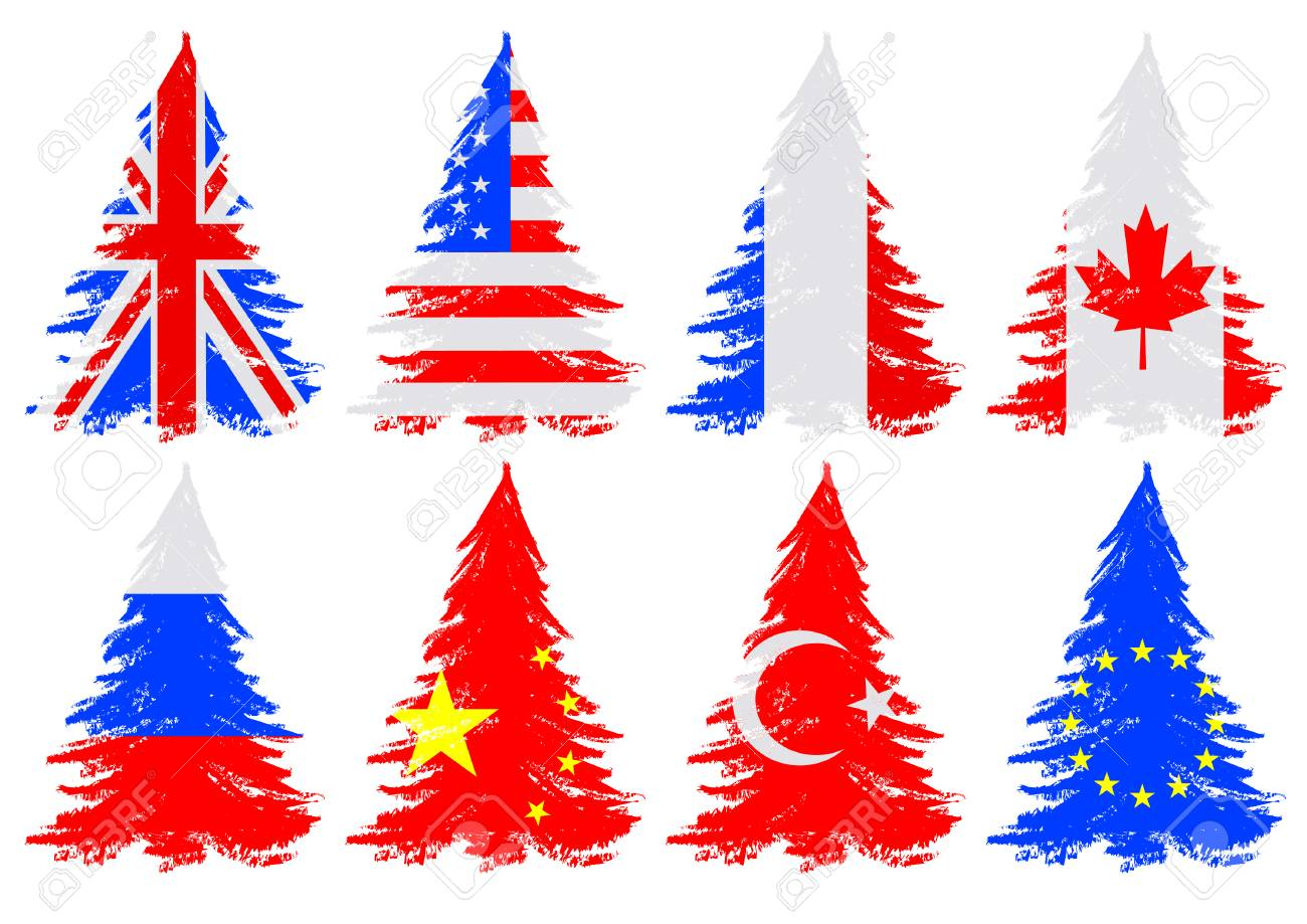 Christmas Trees From National Flag On A White Background Royalty ...