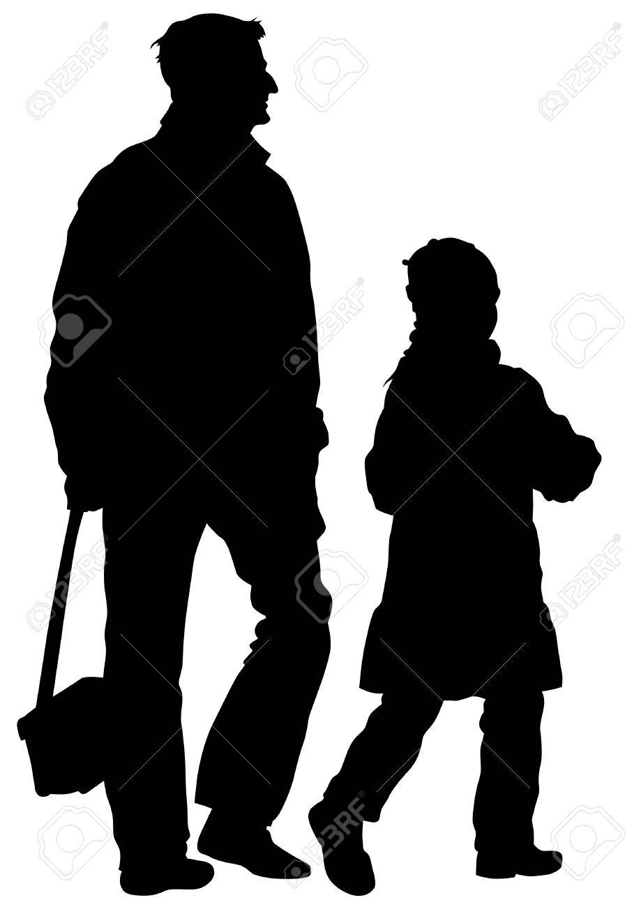 silhouette father and daughter out for a walk stock vector 27675577