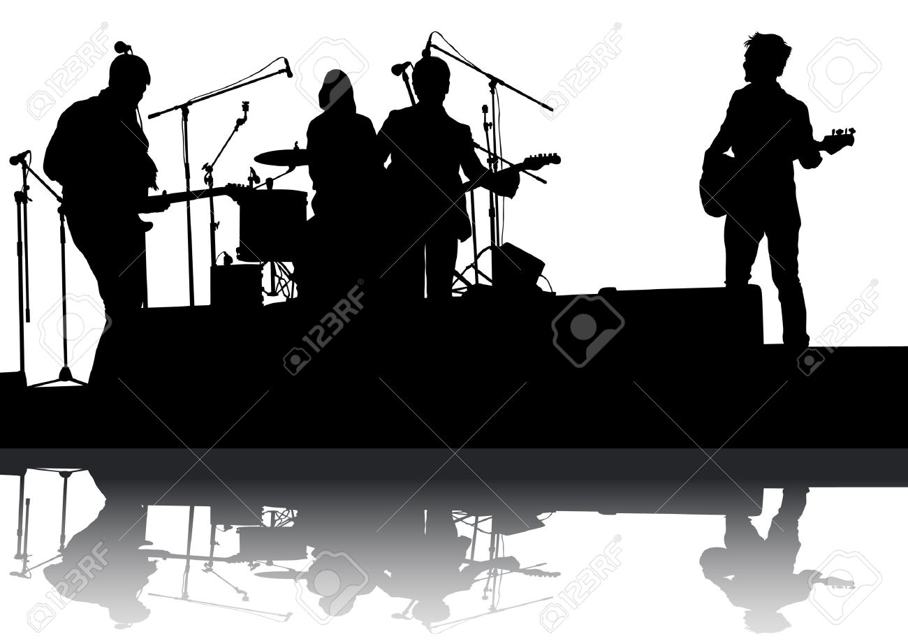 Concert Of Rock Band On A White Background Stock Vector